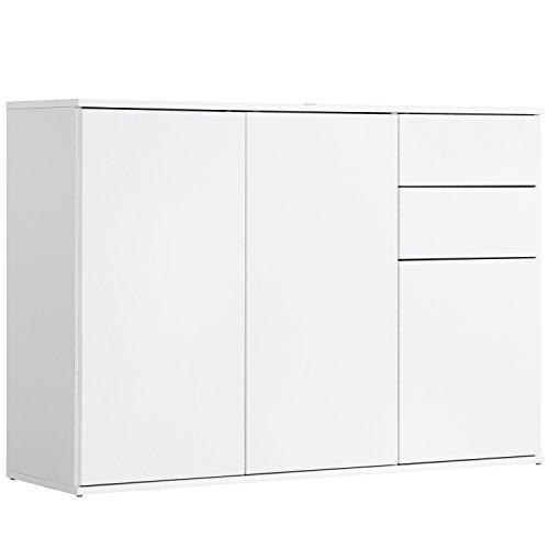 qovi9 \'Die Elegante\' Kommode, Sideboard, Highboard, Anrichte, Schrank in Weiß mit Push-to-Open Funktion, 117x81x34 cm (B/H/T), Made IN Germany!