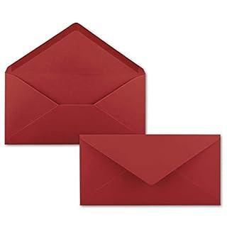 150 Brief-Umschläge Dunkel-Rot DIN Lang - 110 x 220 mm (11 x 22 cm) - Nassklebung ohne Fenster - Ideal für Einladungs-Karten - Serie FarbenFroh®