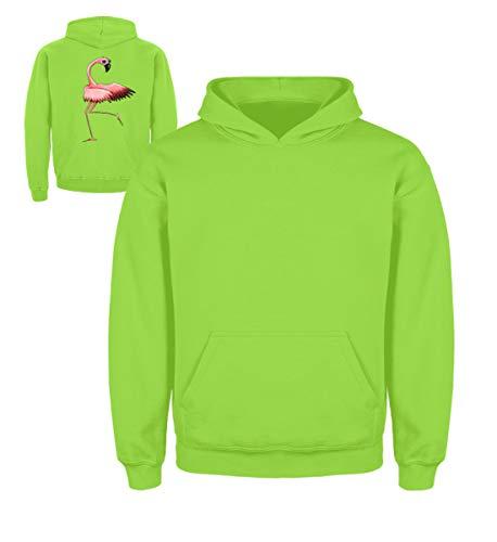 Shirtee Zahnseide Tanzender Flamino mit Sonnenbrille - für Coole Flamingo Fans und Floss-Tänzer - Kinder Hoodie -5/6 (110/116)-Limetten Grün