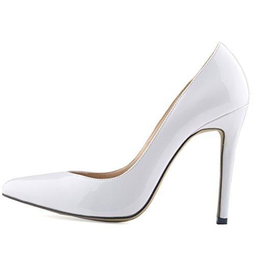 HooH Femmes Simple Bonbons Couleur Glissement Stiletto Escarpins Blanc
