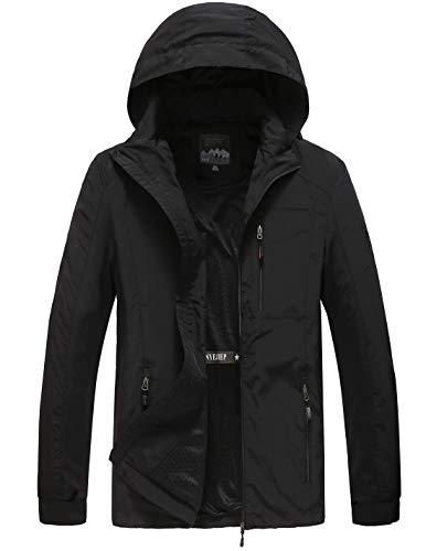 GLESTORE Regenjacke Herren Light Langarm Jacke Windbreaker Coole Jacke Mit Kapuzen Streetwear Freizeitjacke mit Reißverschluss Schwarz M