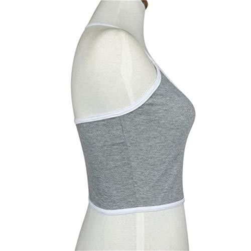 Sexy Damen Tank-BH Bustier BH Vest Gym Fitness Sport Tragen Crop Top Bralette Bluse Shirt Neck Sling - Beige - Medium - 4