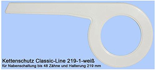 Dekaform 219-1-weiß Kettenschutz Classic Line für Biria BBF Diamant Enik Epple Hercules Kynast Peugeot Fahrrad bei 44/46/48 Zähne +4 Schrauben* weiss