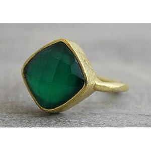 Kissenschliff Grünen Onyx Gold Plated Sterling Silber Ring US-Größe 6 / Diameter 16.5