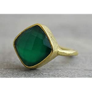 Kissenschliff Grünen Onyx Gold Plated Sterling Silber Ring US-Größe 7 / Diameter 17.3