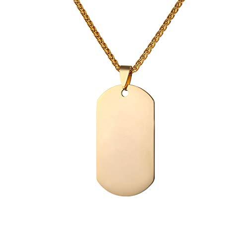 U7 Herren Halskette Militärische Erkennungsmarke 18k vergoldet Dog Tag mit 3mm 55+5cm Kette Anhänger Halskette einzigartiges Geschenk für Männer Jungen (Vergoldete Anhänger Für Männer)