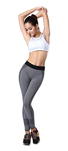 Glield Pantalons de sport Femme, Long Leggings pour Jogging Yoga Fitness Workout YGK04 Gris