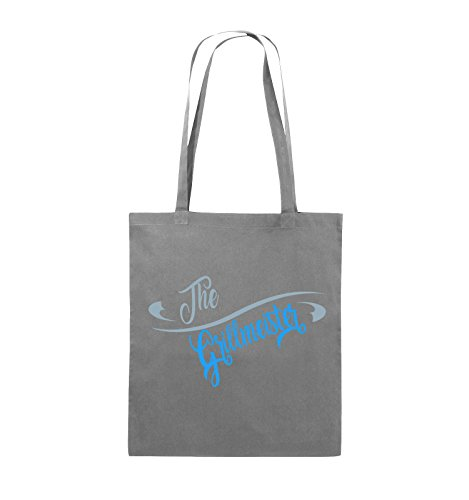 Comedy Bags - The Grillmeister - Jutebeutel - lange Henkel - 38x42cm - Farbe: Schwarz / Weiss-Neongrün Dunkelgrau / Eisblau-Blau