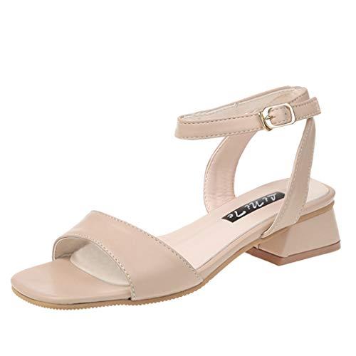 Ears Damen Mode Lässig Sandalen Open Toe Sandalen Square Heels Schuhe Med Heel Sandalen Schnallenriemen Sandalen Beiläufig Römische Schuhe Retro Böhmische Schuhe Elegant Strand Sandalen Mini T-strap-heels