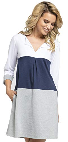 Schlüsselloch-ausschnitt Tunika (Glamour Empire. Damen Etuikleid mit horizontalen Streifen und Taschen. 303 (Marine & Grau Melange, EU 38/40, S/M))