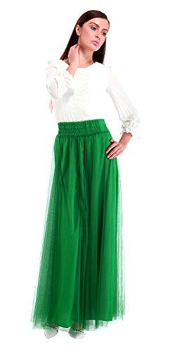 Honeystore Damen's Vintage Rock Top-Modell Unterrock/Sommer-Rock elastische Taille Lang Rock Geeingnet für Damen & Mädchen Grün