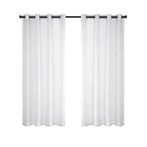 URBAN HABITAT Solid Sheer Ösenschal Voile Vorhang in Leinen-Optik Ösenvorhang Gardine Wohnzimmer Elegant, weiß(2er-Set, je