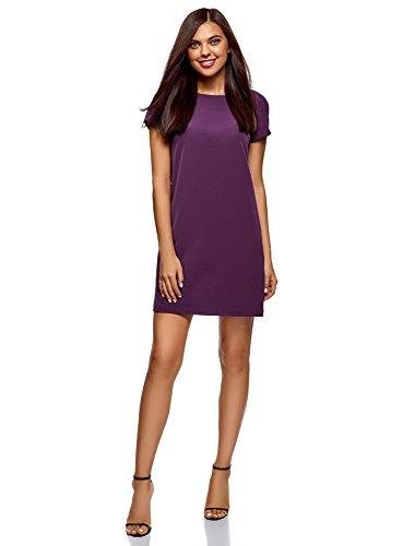 Lavendel-kleid-schuhe (oodji Collection Damen Gerade Geschnittenes Kleid Basic, Violett, DE 34 / EU 36 / XS)