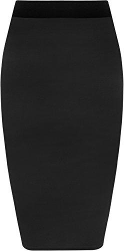 WearAll - Damen Übergröße Einfarbig Anliegend Stretch Bleistiftrock Midi Rock - Schwarz - 52-54