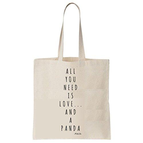 Tote Bag Imprimé Ecru - Toile en coton bio - All you need is love and a panda