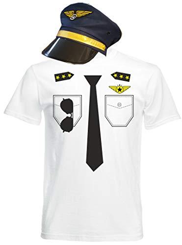 Kostüm Look -Fug Kapitän Karneval Mit Hut Khaki PIL, Weiß, M ()