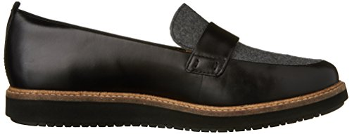 Clarks Womens Glick Avalee Flat Grey Textile/Black Leather Combo