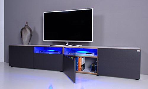 TV Lowboard NOOMO # weiß / anthrazit inkl. RGB-Beleuchtung mit Fernbedienung - 2