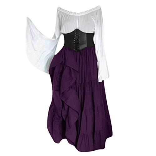 Lazzboy Frauen Renaissance Gothic Bodenlangen Cosplay Retro Langes Kleid Damen V-Ausschnitt Mittelalter Party Viktorianischen Kleider Prinzessin Bodenlänge Hochzeit Karneval (Gladiator Krieger Prinzessin Kostüm)