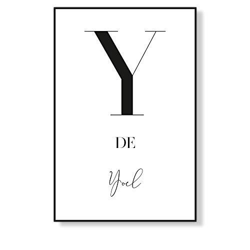 Lámina Decorativa Personalizada con Letra Inicial y Nombre, Cuadro Decorativo de Pared para Enmarcar, Estilo Nórdico en Blanco y Negro, Varias Medidas (Y)