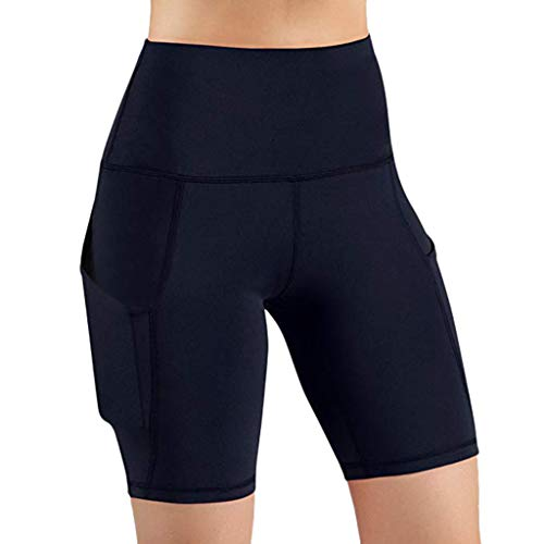 AIni Yogahosen für Damen Sale Mode Beiläufiges 2019 Neuer Hohe Taille aus Tasche Yoga Kurz Running Athletic Yoga Kurzs Hosen Yoga Leggings Sport Fitness Hosen Trainingshose (XXL,Marine)