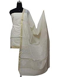 Gleamberry Womens Off_White Block Print Maheshwari Chanderi Dress Material Set