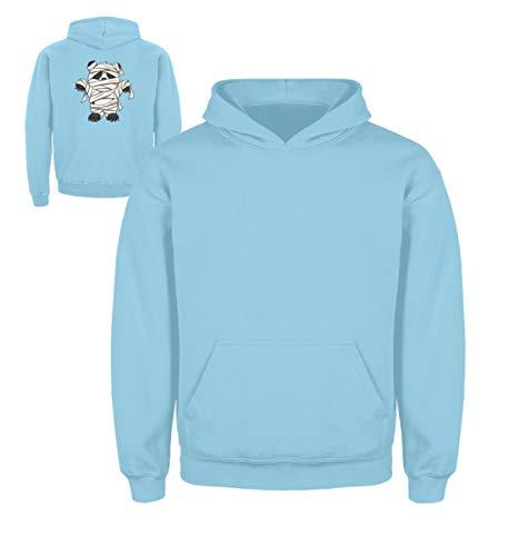 Shirtee Kleiner Pandabär mit Mumie Kostüm - Halloween Design für alle Panda Fans und Bären Freunde - Kinder Hoodie -3/4 (98/104)-Himmelblau (Halloween Bären, Kostüm Kleine Drei)