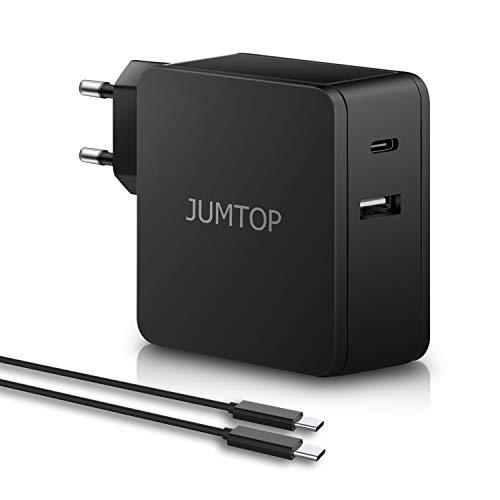 JUMTOP 2 Porte Quick Charge 3.0 Caricatore USB, 60W 5V 2.4A Caricabatterie USB da Parete Alimentatore da Viaggio per Tutti i dispositivi iOS e Android così Come Laptop, Tablet, ECC.(Nero)