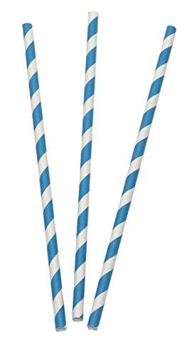 Papier - Strohhalm / Trinkhalm BAYERN (blau + weiss gestreift / 19,7 x 0,6 cm - 12 Stück) OKTOBERFEST HIGHLIGHT