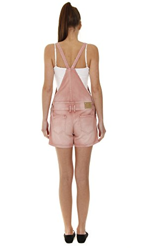 Damen Latzshorts - Rosa kurze latzhose damen denim shorts overall shorts JSM.SH.PNK-D W30 / UK12