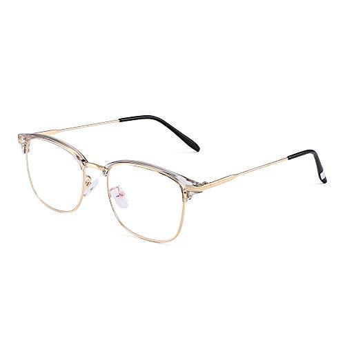 JM Vintage Halb-Randlos RX-fähig Brillen Metall Optische Gläser Rahmen für Herren Gold