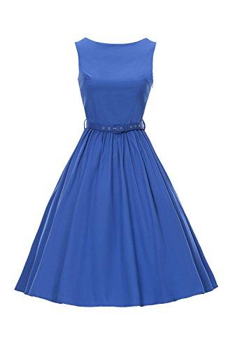 iLover 50s Vintage Rockabilly Blumenkleid Hepburn Stil Partykleid Cocktailkleid 50er Jahr Abendkleid (EU 46(XXXL), V031-blue) (50er Jahre Tanz Kostüme)
