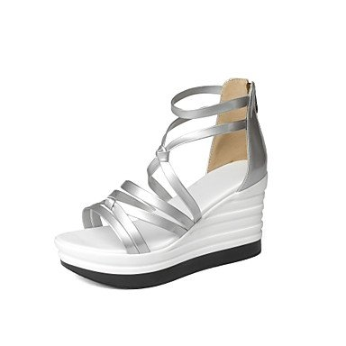 LvYuan Sandali-Formale Casual Serata e festa-Alla schiava Club Shoes-Zeppa-Finta pelle-Nero Rosso Bianco Argento Red