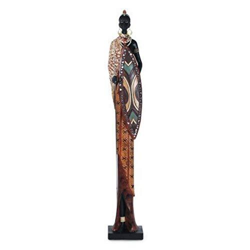 CAPRILO Figura Decorativa de Resina Mujer Africana. Adornos y Esculturas. Africa. Decoración Hogar. Regalos Originales. 69 x 11 x 9 cm.
