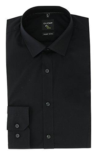 OLYMP Herrenhemd No6 six, super slim, Urban Kent, schwarz, Teilungsnaht Schwarz