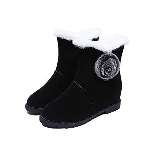 iHAZA Femmes Bottes de Neige Chauds Hiver Boule Solide Baskets à Bout Rond Chaussures