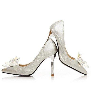 Wsx & Plm Femmes-talons-soirée De Mariage Formelle Et Soirée-confortable-a Stiletto-sequins-argenté Argent