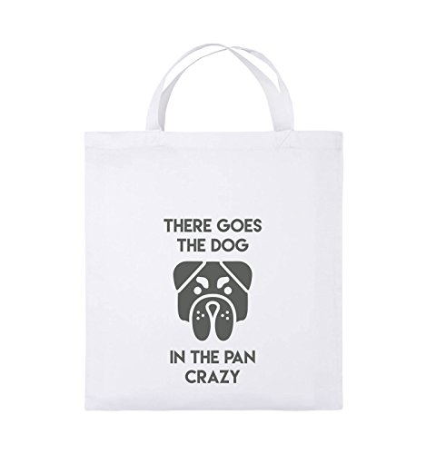 Comedy Bags - THERE GOES THE DOG IN THE PAN CRAZY - Jutebeutel - kurze Henkel - 38x42cm - Farbe: Schwarz / Pink Weiss / Grau