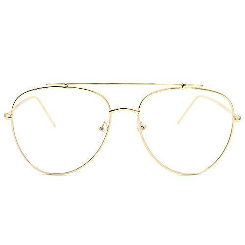 Unisex stilvolle Brillen ohne Rezept Brillen klare linse. Brille (Farbe : Gold)