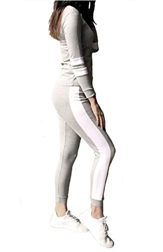 Shocknshop Grey Tape Striped White Tracksuit Tape Tee & Leggings Pants Co Ord Set for womens (LEG67)