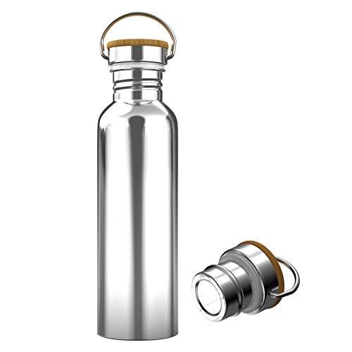 Interlink-UK 750ml Trinkflasche Edelstahl mit Bambusdeckel Isolierflasche Getränkeflasche Sportflasche BPA Frei Vakuumisolierte Doppelwandig Thermoskanne für Outdoor, Büro, Camping (750ml)