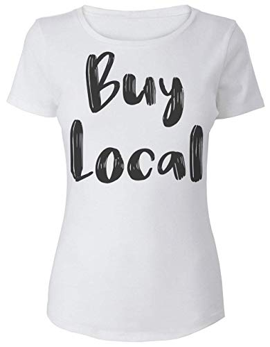 Buy Local Minimal Hand Written Statement Damen T-Shirt Large -