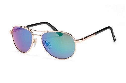 Filtral Pilotenbrille für Damen | Bunt verspiegelte Aviator Sonnenbrille aus Metall in Gold mit Federbügelscharnier F3000717 (Aviator Sonnenbrillen, 53mm)