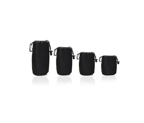 Bluecell Black 4 pcs DSLR camera Drawstring Soft Neoprene Lens Pouch Bag Cover for Sony Canon Nikon Pentax Olympus Panasonic