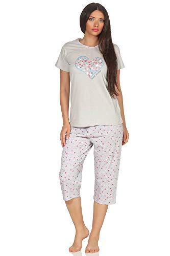 97d0a09341b36a Damen Capri Pyjama Kurzarm Schlafanzug mit ¾-Hose, tolles Herz als Motiv -  62874, Farbe:grau, Größe2:36/38