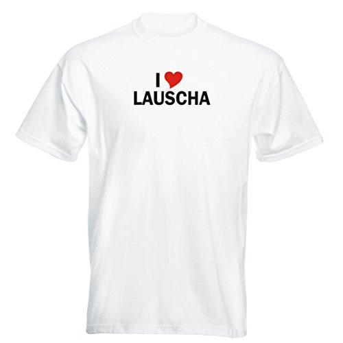 T-Shirt mit Städtenamen - i Love Lauscha - Herren - unisex Weiß