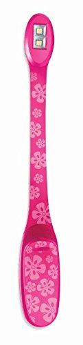 Flexilight Xtra Pink Flowers - Leselampe Buchleuchte: Mit 2 LEDs und extralangem Hals