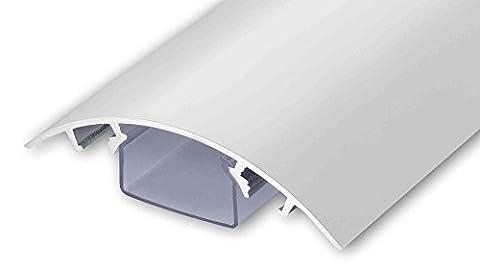 ALUNOVO Goulotte passe-câbles design en aluminium 140 cm Blanc Mat / convient pour écran plat.
