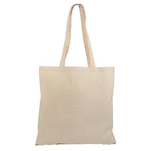 Confez. 10 pezzi borse shopper cotone naturale - cm 38x42