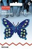 Applikationen - Schmetterling violett blau mit Pailetten,
